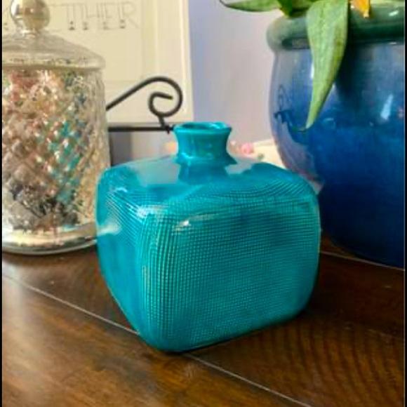 Threshold blue green turquoise vase small